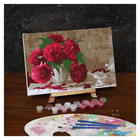 Картина по номерам на холсте с подрамником «Розовые пионы», 30х20 см  Школа талантов