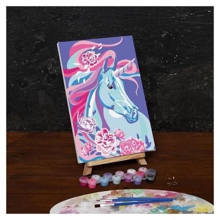 Картина по номерам на холсте с подрамником «Единорог в цветах», 30х20 см  Школа талантов