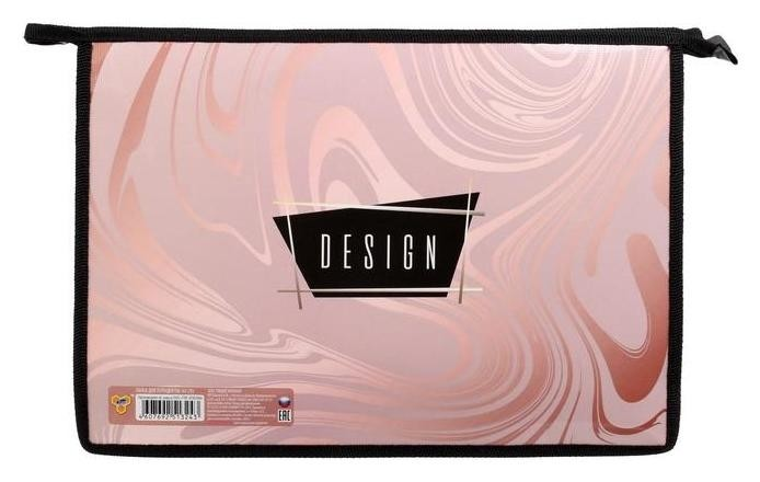 """Папка для тетрадей А4, молния сверху, пластик/ламинированный картон, """"Блестящий мрамор""""  Пчелка"""