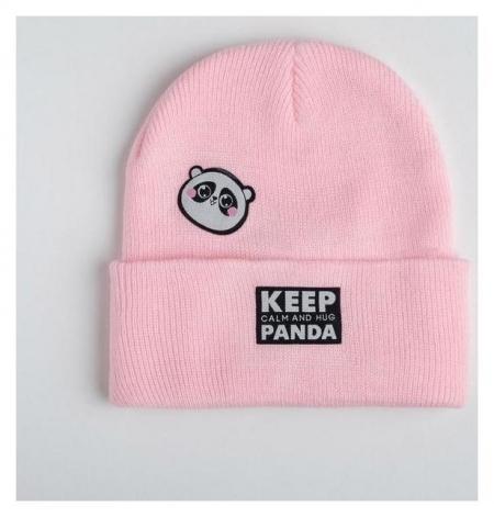 Стильная женская шапка Keep Calm And Hug Panda  Beauty fox
