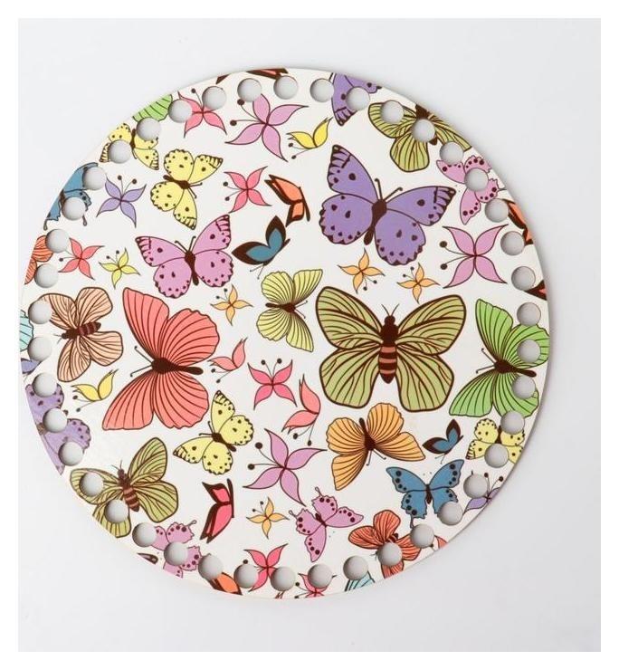 Заготовка для вязания Круг бабочки, донышко фанера, размер 20 см Queen fair