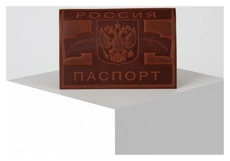 Обложка для паспорта, 9,5*0,3*13,5, конгрев герб+ карта, коричневый  NNB