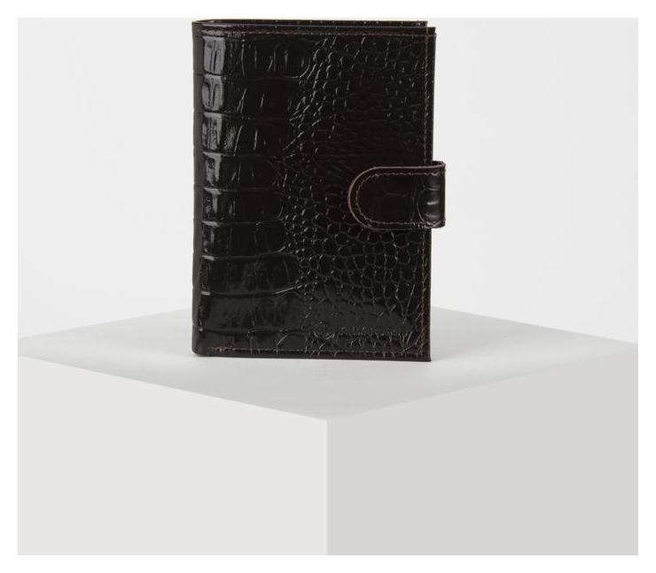 Обложка для автодок+паспорт (Т)вп1226-62, 10*1,5*14, отд для купюр, кайман коричневый  КНР