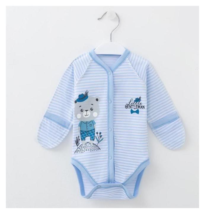 Боди-царапка Little Gentlemen, цвет голубая полосочка, рост 56 см Мой малыш