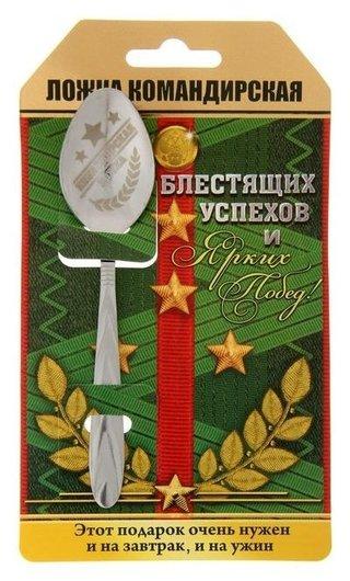 Ложка с гравировкой сувенирная на открытке «Командирская ложка»  NNB