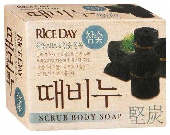 """Скраб-мыло туалетное """"Rice Day"""" древесный уголь"""