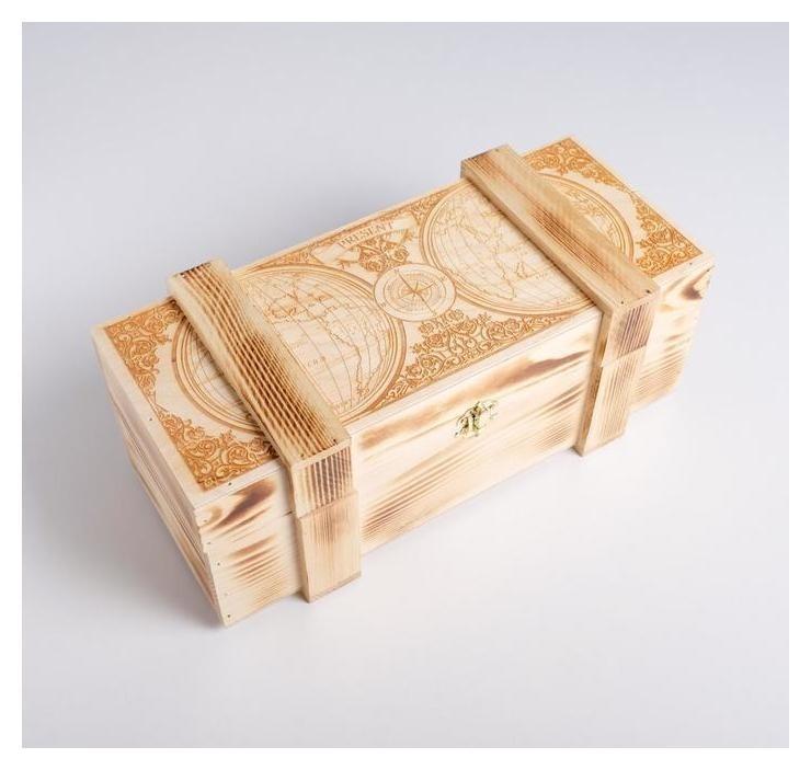 Ящик под бутылку с замком «Карта», 14 × 12,5 × 34 см Дарите счастье