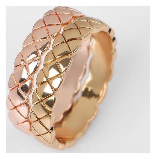 Кольцо Узор двойной, цвет розово-золотой, размер 17 NNB