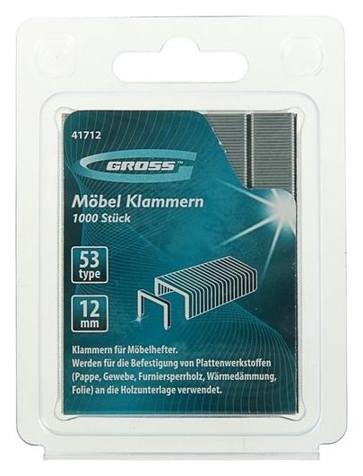 Скобы для мебельного степлера Gross, 12 мм, тип 53, усиленные, 1000 шт. Gross