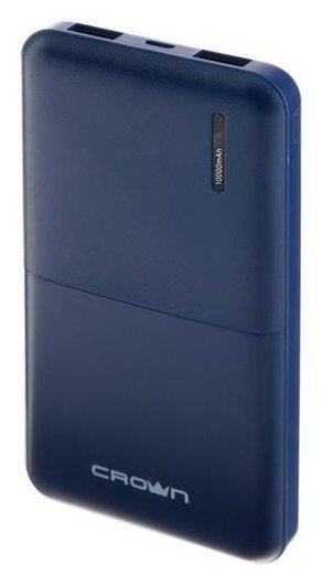 Внешний аккумулятор Crown Cmpb-604, 10000 мач, 2 Usb, 2 А, синий  Crown