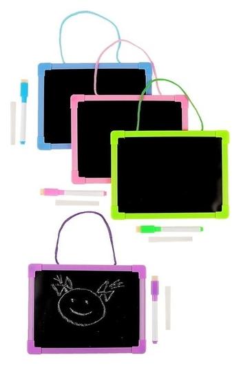 Доска для рисования двухсторонняя картонная, маркер + мел NNB
