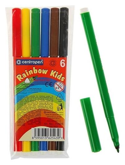 Фломастеры 6 цветов Rainbow Kids, эргономичная зона обхвата, смываемые, вентилируемый колпачок, толщина линии 1 мм  Centropen