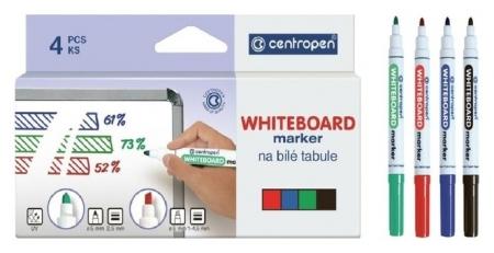 Набор маркеров для доски 4 цвета, Centropen 8559 2.5 мм, линия  Centropen