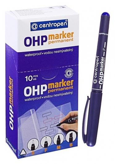 Маркер Centropen 2636 для Ohp, перманентный, 0.6 мм, синий  Centropen