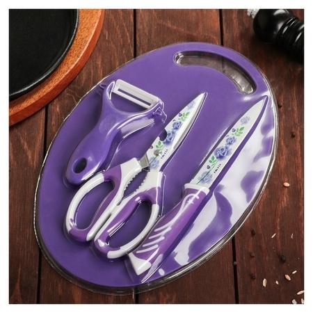Набор кухонный, 3 предмета, цвет фиолетовый  NNB