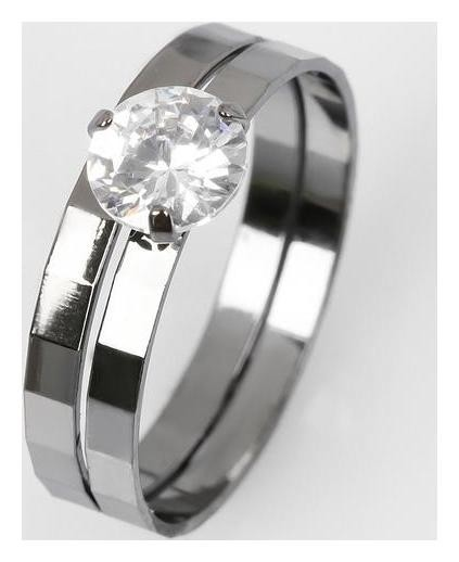 Кольцо Кристаллик двойное, цвет белый в сером металле, размер 18 NNB
