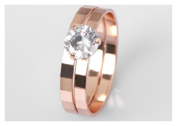 Кольцо Кристаллик двойное, цвет белый в розовом золоте, размер 19 NNB