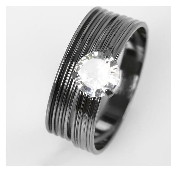 """Кольцо """"Кристаллик"""" линии, цвет белый в сером металле, размер 19  NNB"""