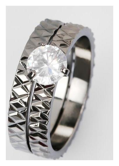 Кольцо Кристаллик узоры, цвет белый в сером металле, размер 18 NNB