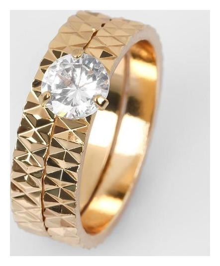 Кольцо Кристаллик узоры, цвет белый в золоте, размер 18 NNB