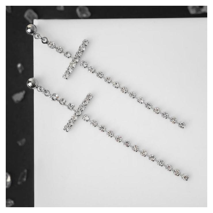 Серьги со стразами Крестики моник, цвет белый в серебре NNB