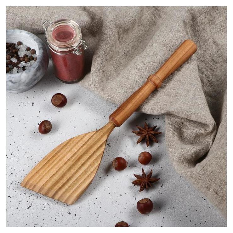Лопатка деревянная Премиум, 28 см, с точеной ручкой, массив черешнни Доброе дерево