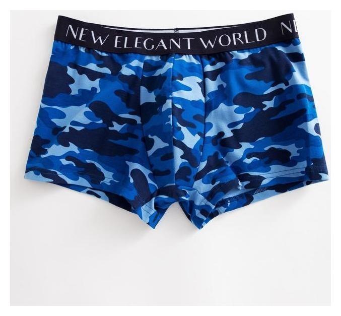 Трусы мужские боксеры, цвет синий камуфляж, размер 48  New Elegant
