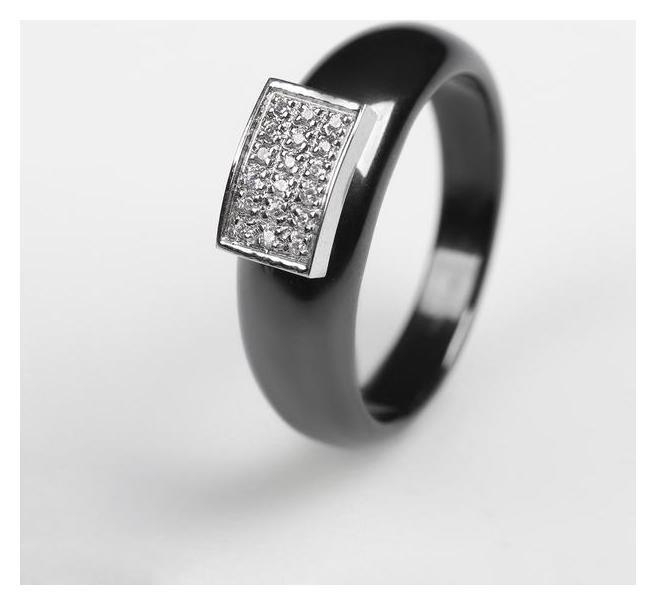 """Кольцо керамика """"Прямоугольник"""" широкий, цвет чёрный в серебре, 18 размер  NNB"""