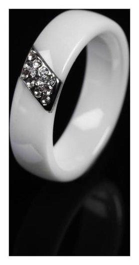 Кольцо керамика Диагональ, цвет белый, 18 размер NNB