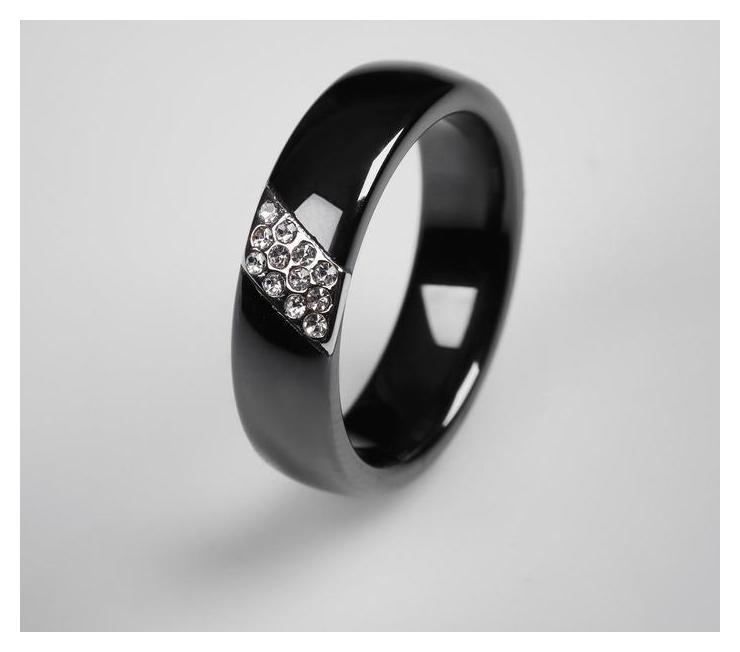 Кольцо керамика Диагональ, цвет чёрный в серебре, 17 размер NNB