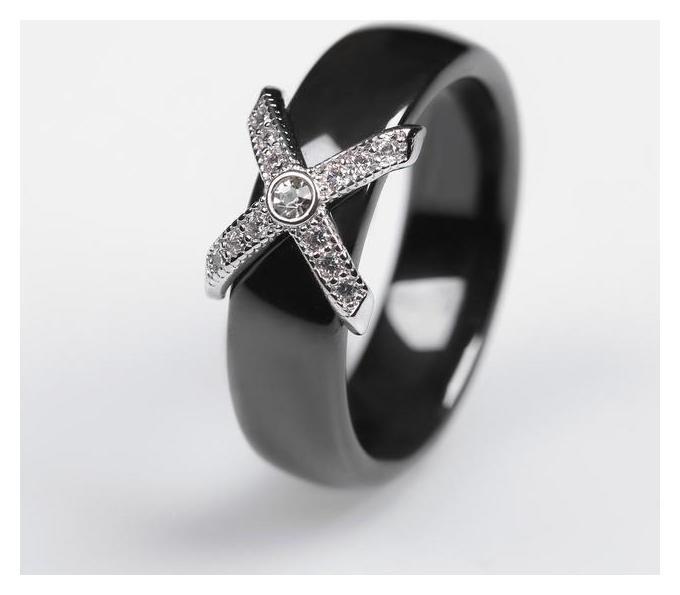 Кольцо керамика Сплетение, цвет чёрный в серебре, 17 размер NNB