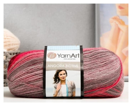 Пряжа Angora Active 25% мохер, 75% акрил 500м/100гр (841 т. розов.-серый) YarnArt