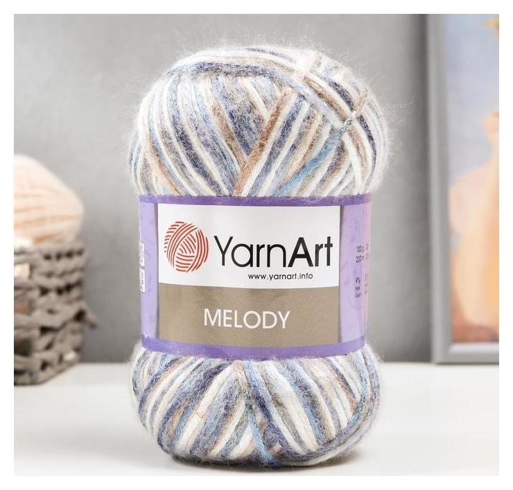 Пряжа Melody 9% шерсть, 21% акрил, 70% полиамид 230м/100гр (904 бел-син-беж) YarnArt