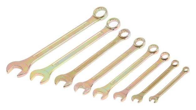 Набор комбинированных ключей In Work, 6-19 мм, 8 шт., углеродистая сталь, цинковое покрытие  In work