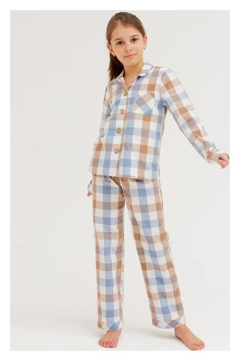 Комплект детский (Рубашка, брюки) Minaku: Home Collection Kids цвет синий, рост 140 Minaku