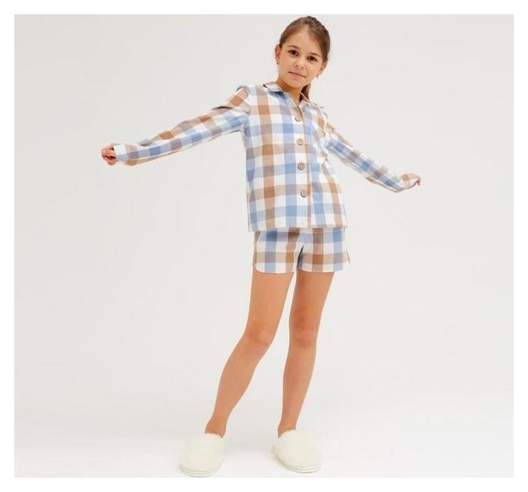 Комплект для девочки (Рубашка, шорты) Minaku: Home Collection Kids цвет синий, рост 134 Minaku