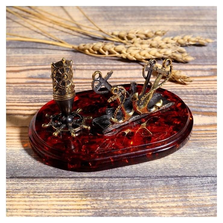 Сувенир из латуни и янтаря Визитница море-якоря 11х7.5 см NNB