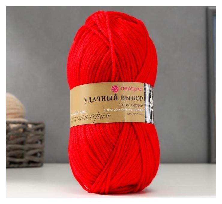Пряжа Удачный выбор 100% акрил объёмный, 200м/100гр (06-красный) Пехорский текстиль