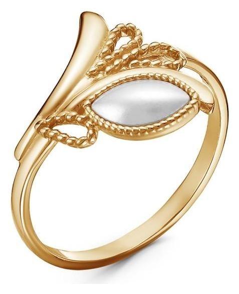 Кольцо Жемчуг лавра, позолота, 18 размер Красная пресня