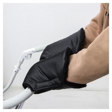 Варежки-муфты на ручку коляски, 2 шт., цвет черный  NNB