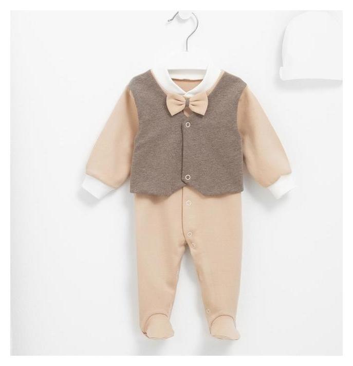 Комбинезон с шапочкой, цвет коричневый, рост 62 см Мой малыш