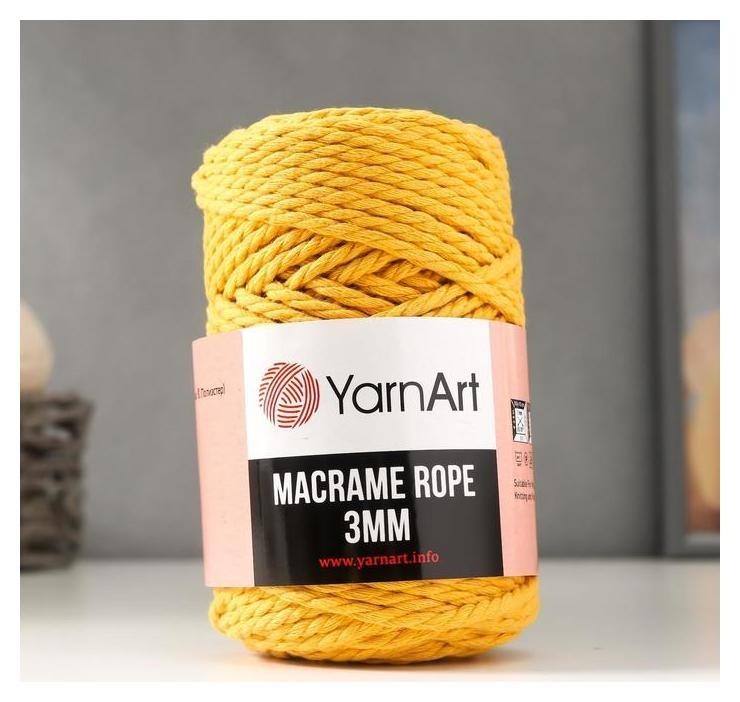 Пряжа Macrame Rope 60% хлопок, 40% вискоза/полиэстер 3мм 63м/250гр (764 жёлтый) YarnArt
