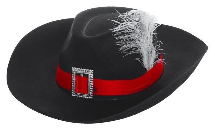 Шляпа мушкетера с пером черная NNB
