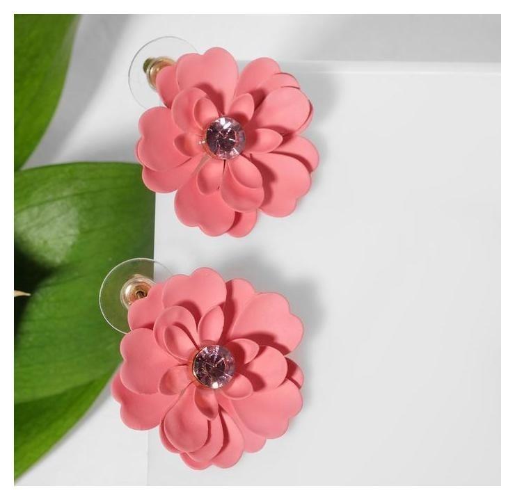 Серьги со стразами Цветочекмимоза, цвет розовый в золоте NNB