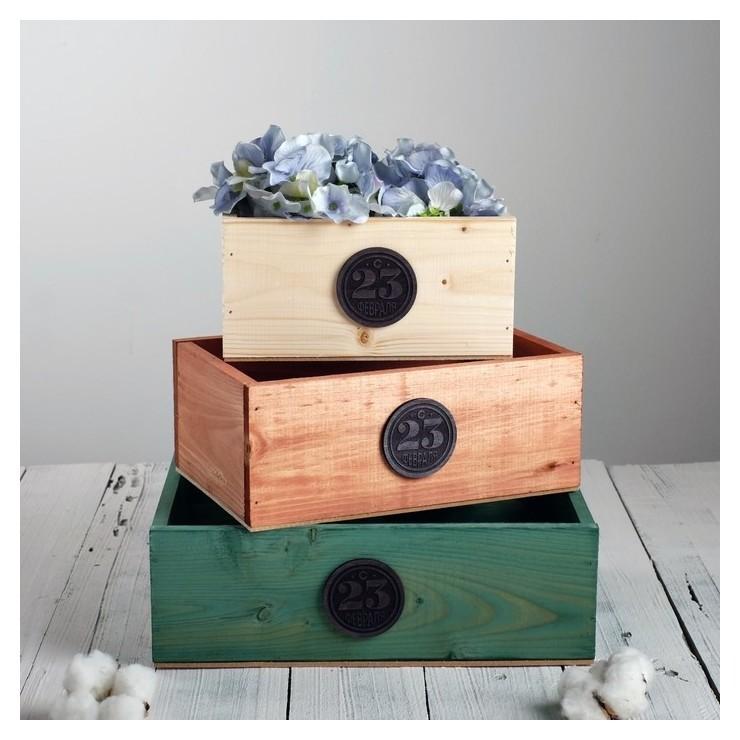 Набор деревянных ящиков 3 в 1 23 февраля с плашкой Дарите счастье