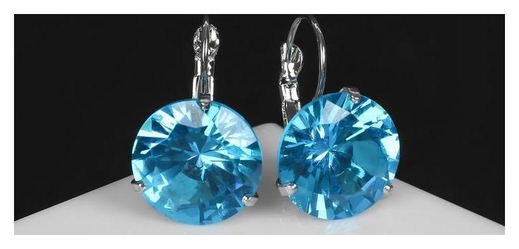 Серьги со стразами Большой сапфир, D=1,6, цвет голубой в серебре NNB