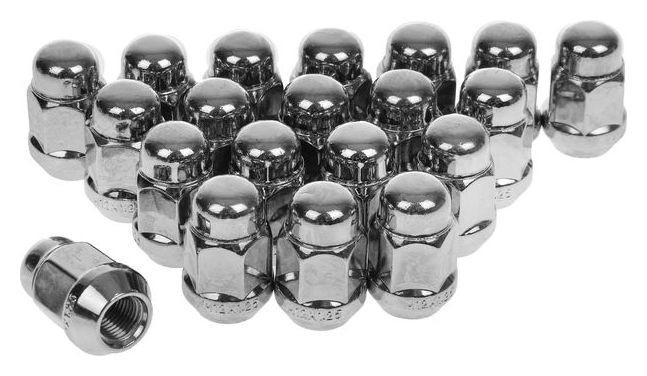 Гайки 12x1,25 мм, высота 35 мм, под ключ 19 мм, конус, закрытые, хром, набор 20 шт.  NNB