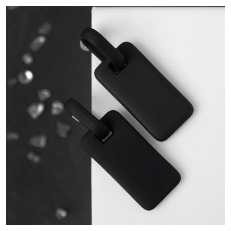 Серьги металл Прямоугольник плита, цвет чёрный NNB