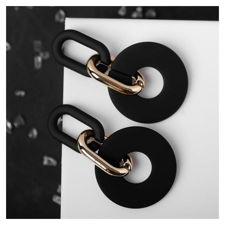 Серьги металл Цепь кольца, 3 звена, цвет золотисто-чёрный NNB