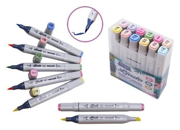 Набор двусторонних маркеров для скетчинга Mazari Lindo Pastel Colors (Пастельные цвета), 12 цветов Mazari